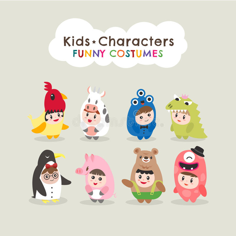 Cute kids wearing animal costumes. Isolated cartoon illustration stock illustration