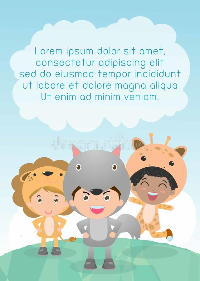 Cute kids wearing animal costumes,Template for advertising brochure, your text ,Cute little Children with animals costume. Cute kids wearing animal costumes royalty free illustration