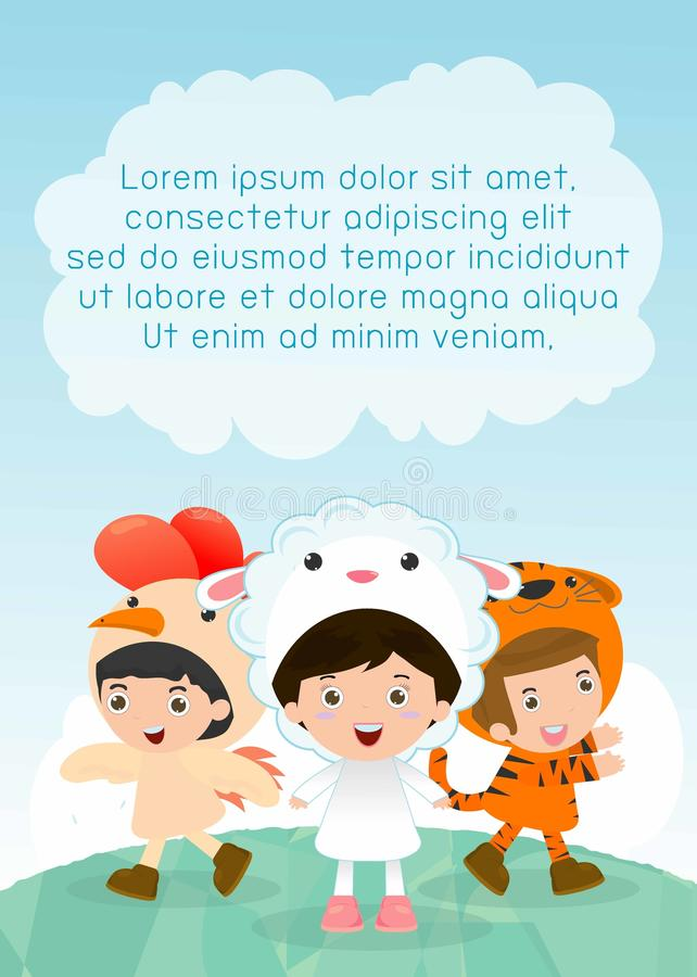 Cute kids wearing animal costumes,Template for advertising brochure, your text ,Cute little Children with animals costume. Cute kids wearing animal costumes vector illustration