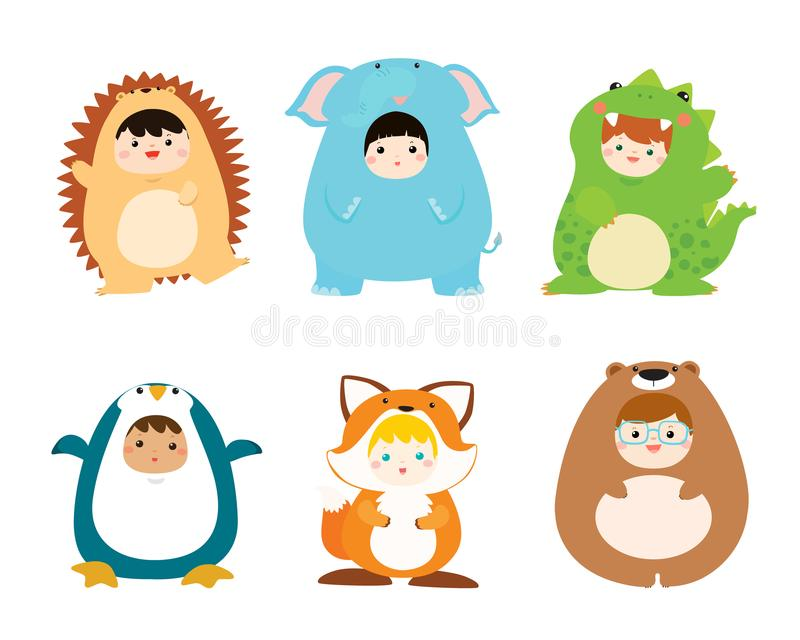 Cute kids wearing animal costumes vector. Illustration vector illustration