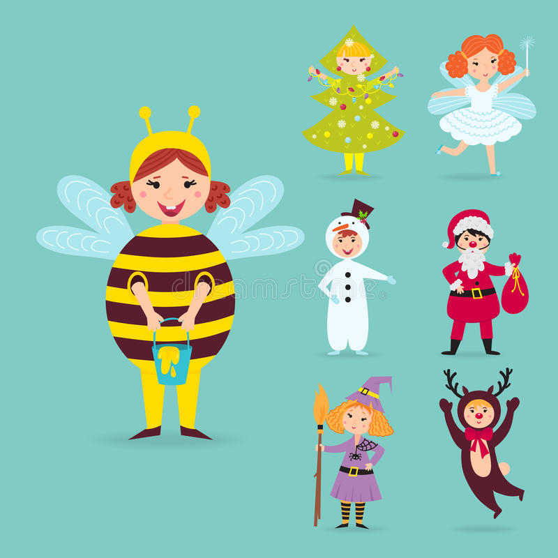 Cute kids wearing Christmas costumes vector characters little people isolated cheerful children holidays illustration stock illustration