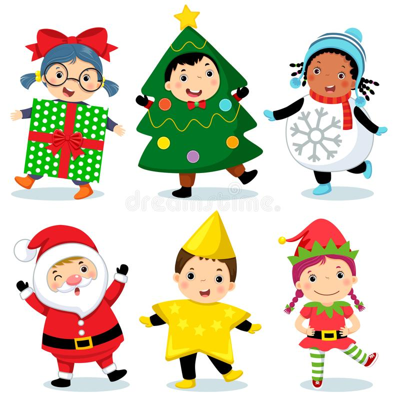 Cute kids wearing Christmas costumes. Vector illustration of cute kids wearing Christmas costumes vector illustration