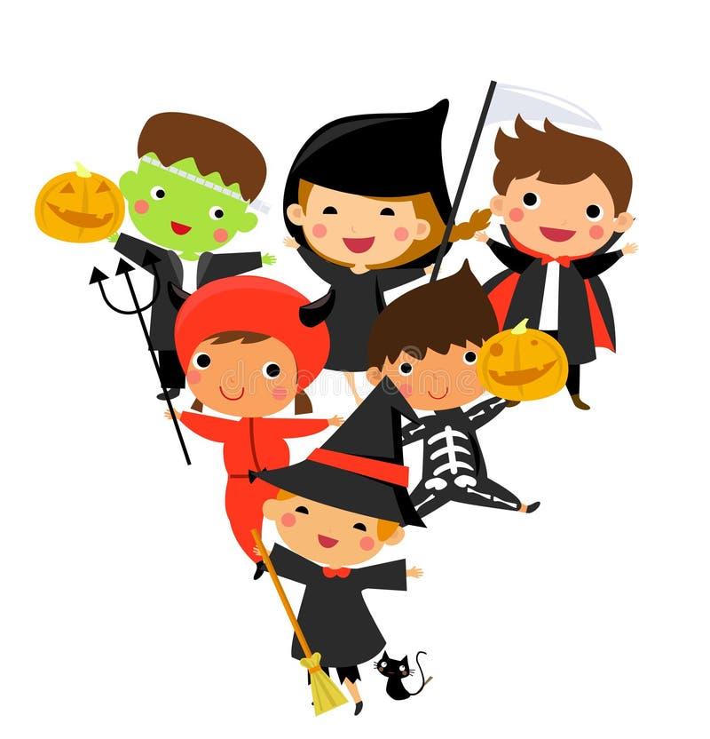 Cute kids wearing Halloween monster costume royalty free illustration
