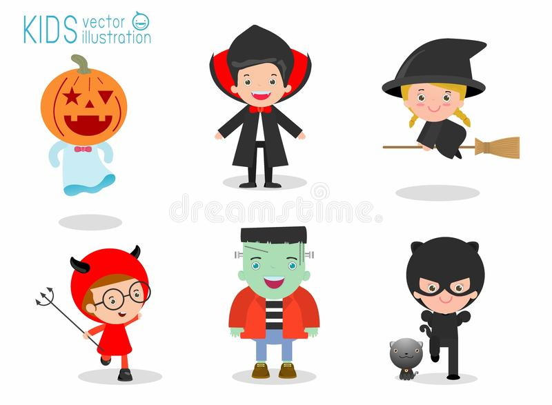 Cute kids wearing Halloween monster costume on white background, Happy Halloween royalty free illustration
