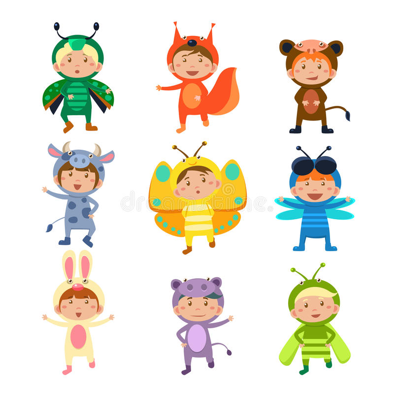 Cute Kids Wearing Insect and Animal Costumes. Children Wearing Costumes of Animals and Insects Vector Illustration Set royalty free illustration