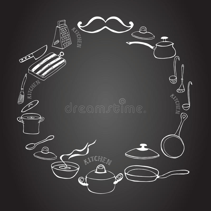 Cute kitchen frame on the blackboard. Cute circle kitchen frame with casserole and frying pan on the blackboard. Cooking concept. Hand Dawn. Vector Illustration royalty free illustration