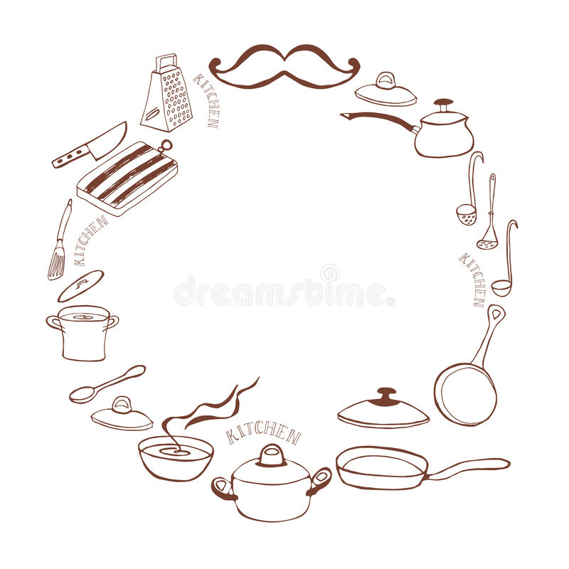Cute kitchen frame. Cute round kitchen frame with casserole and frying pan. Cooking concept. Hand Dawn. Vector Illustration vector illustration