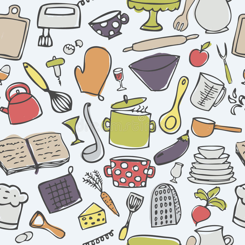 cute kitchen seamless vector pattern stock vector image