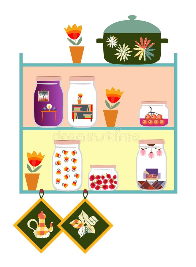 Cute kitchen shelves. Jars with sweet jam and dreams of cozy home, flowers in pot, pan and potholders. vector illustration