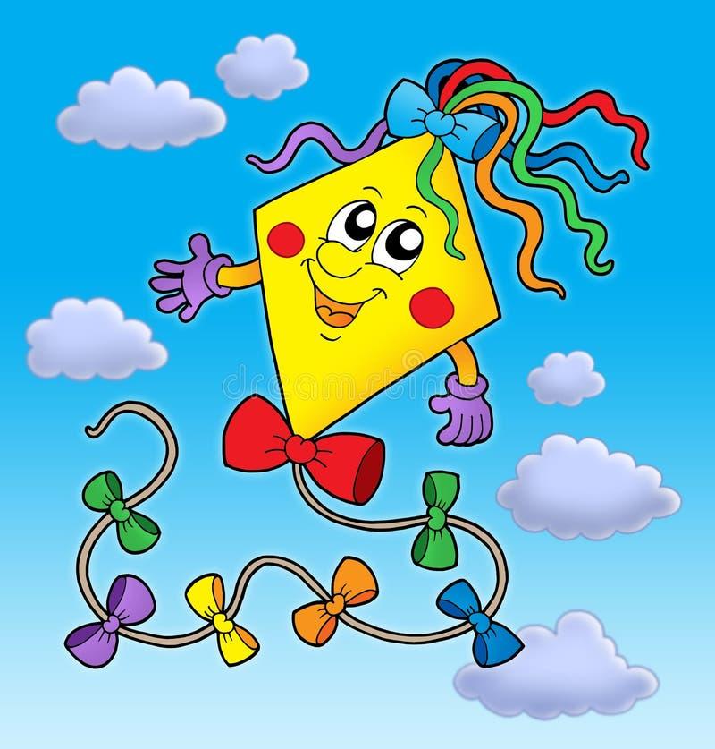 Cute kite on blue sky royalty free illustration