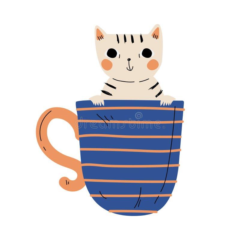 Cute Kitten in Blue Teacup, Adorable Little Cat Animal Character Sitting in Coffee Mug Cartoon Vector Illustration lizenzfreie abbildung