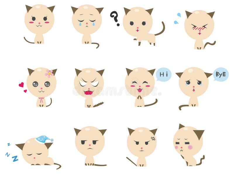 Download Cute Kitten Emotional Icons Stock Image - Image: 24370811