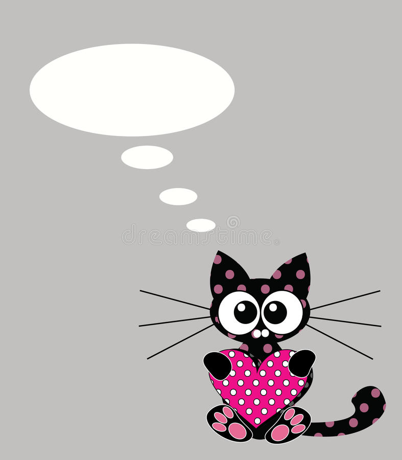 Cute Kitten With Heart And Bubble Speech Stock Photos
