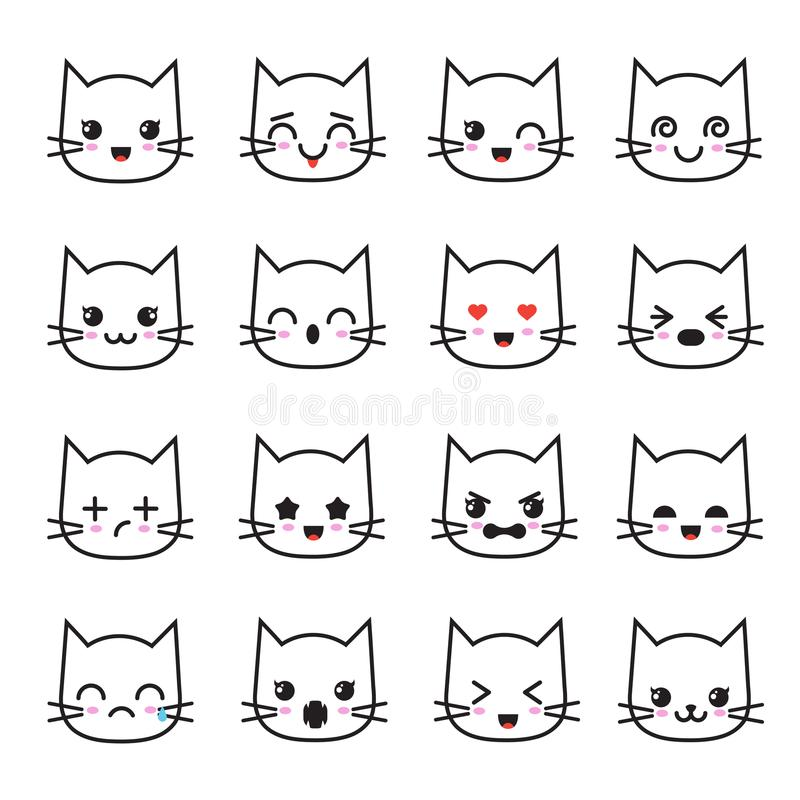Cute kitten kawaii emoticon collection. Funny white cat emoji vector avatars stock illustration