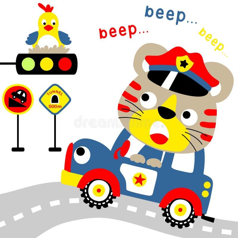 Funny police cartoon on patrol car royalty free illustration