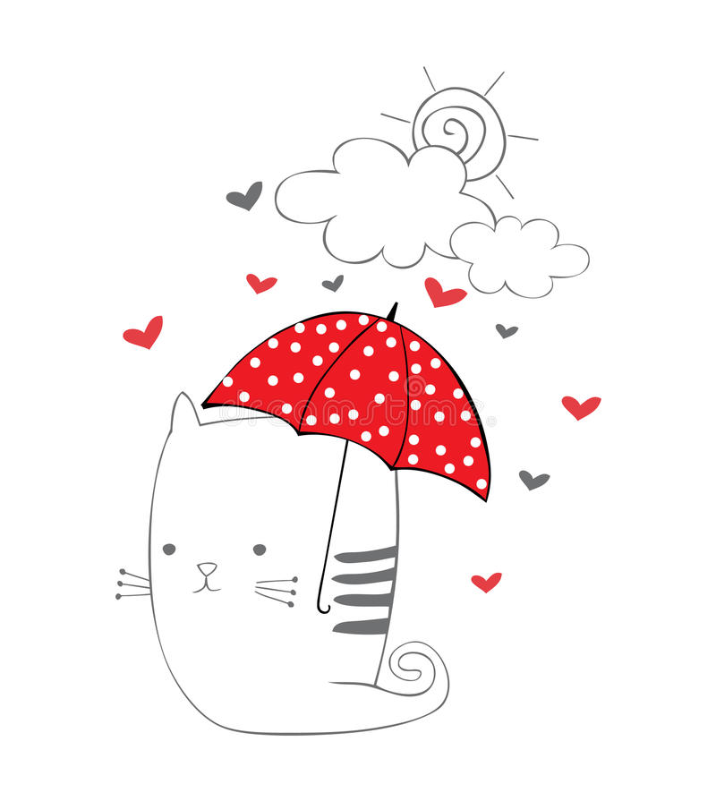 Download Cute kitten stock illustration. Image of sweet, umbrella - 33440374