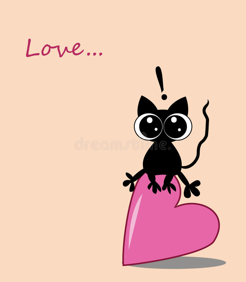Download Cute Kitten Sitting On Heart Stock Vector - Image: 28756267