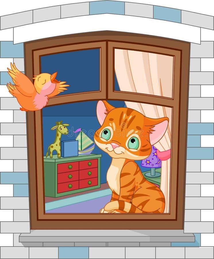 Cute kitten sitting on the window stock illustration