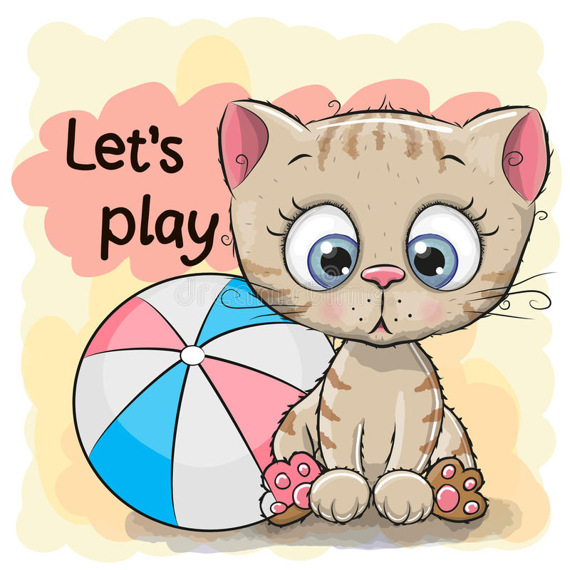 Free Cute Kitten With A Ball Stock Photo - 83136440