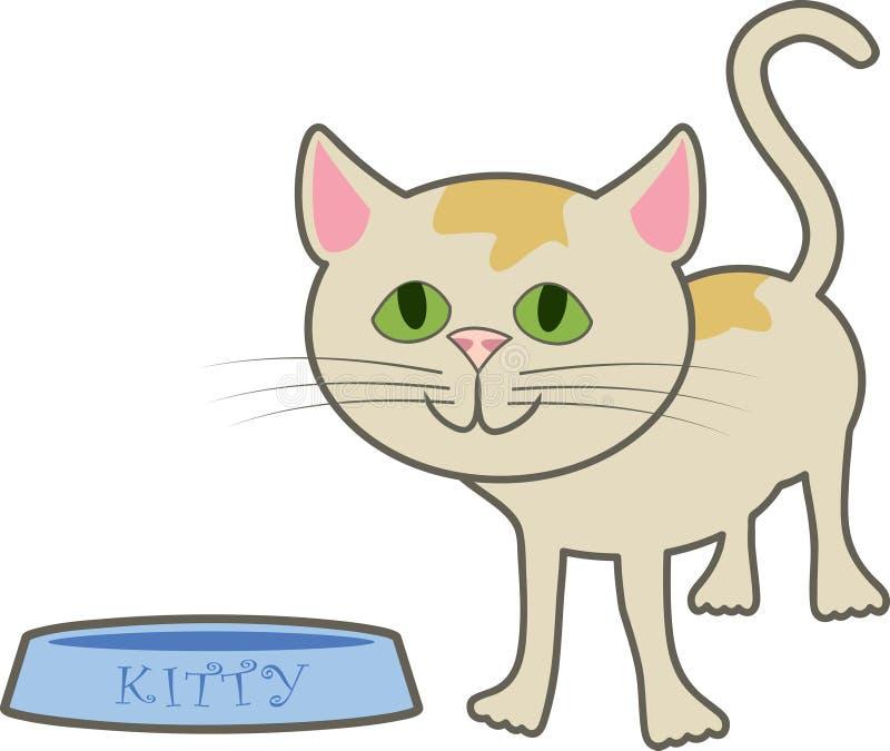 Cute Kitty. A cartoon kitty standing near its food dish vector illustration