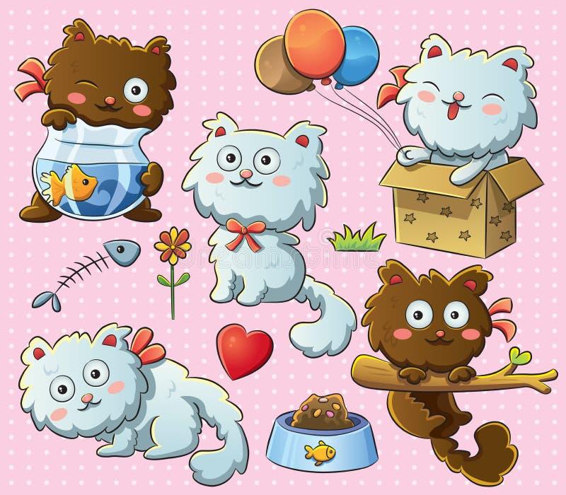 Cute Kitty. Cartoon illustration of cheerful cute kitty royalty free illustration