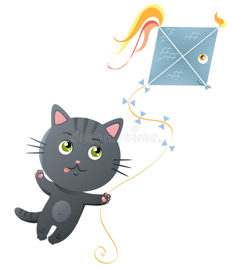 Cute kitty. Cute vector kitty with kite royalty free illustration