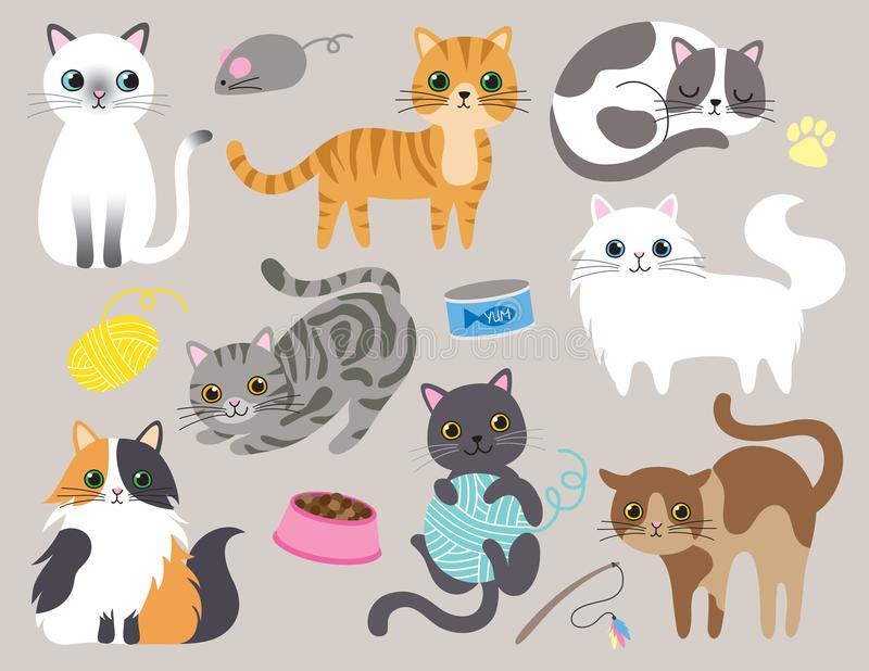 Cute Kitty Cat Vector Illustration. Set with different cat breeds, toys, and food royalty free illustration