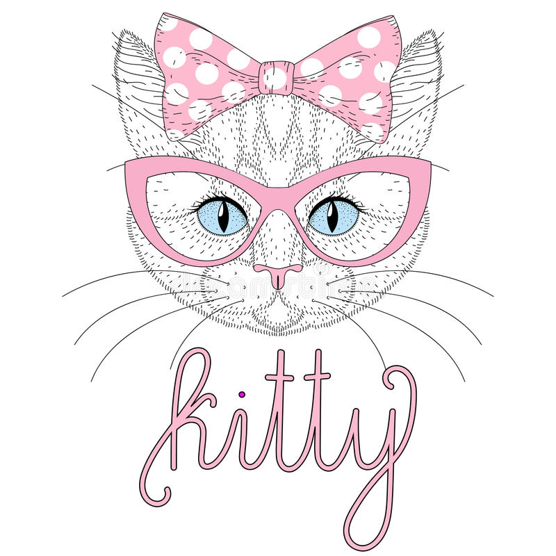 Cute kitty portrait with pin up bow tie on head. Hand drawn cat. Cute anthropomorphic kitty portrait with pin up bow on head. Hand drawn cat face, cheerful vector illustration