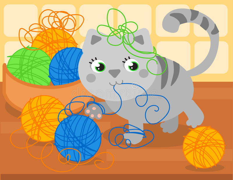 Cute kitty with wool ball. Cartoon little cat playing with wool ball, vector illustration royalty free illustration