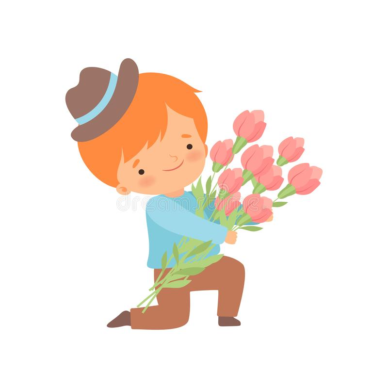Cute Kneeling Little Boy with Bouquet of Flowers Cartoon Vector Illustration. On White Background stock illustration