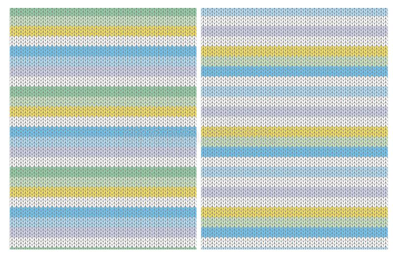 Cute Knitted Fabric Style Stripes Vector Patterns. Multicolor Design. stock illustration