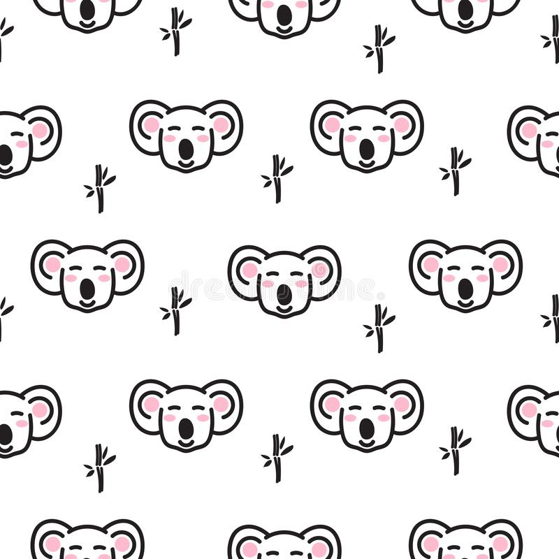 Cute koala bear heads seamless pattern vector. royalty free illustration