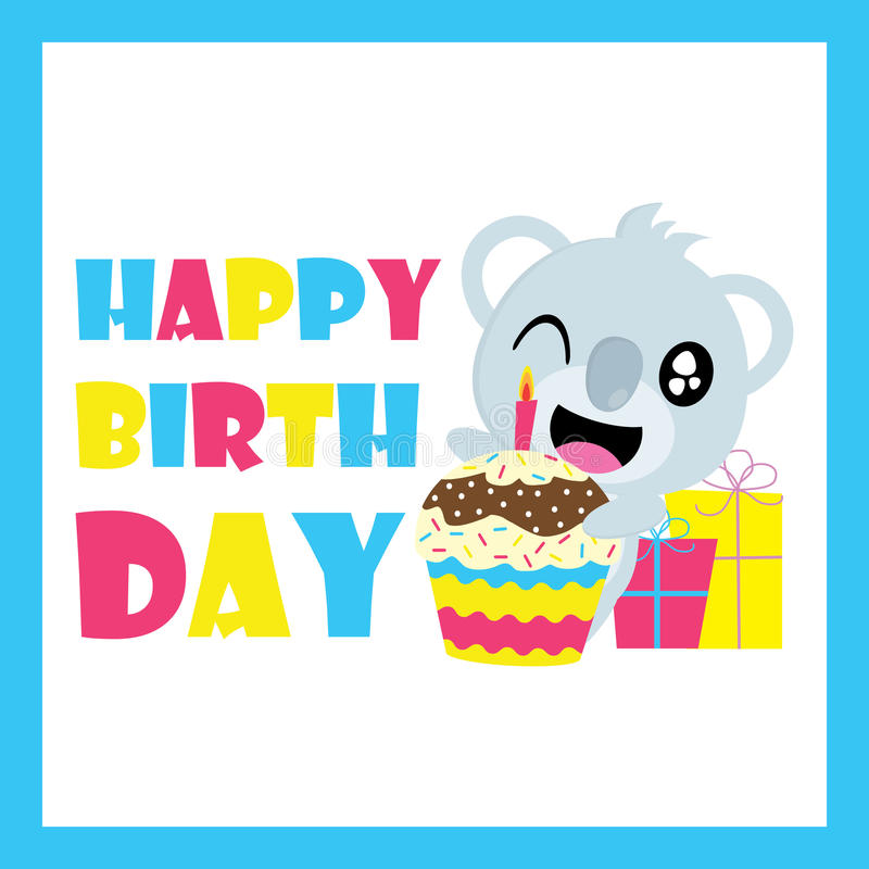 Download Cute Koala With Birthday Cupcake And Gifts Vector Cartoon Postcard Wallpaper