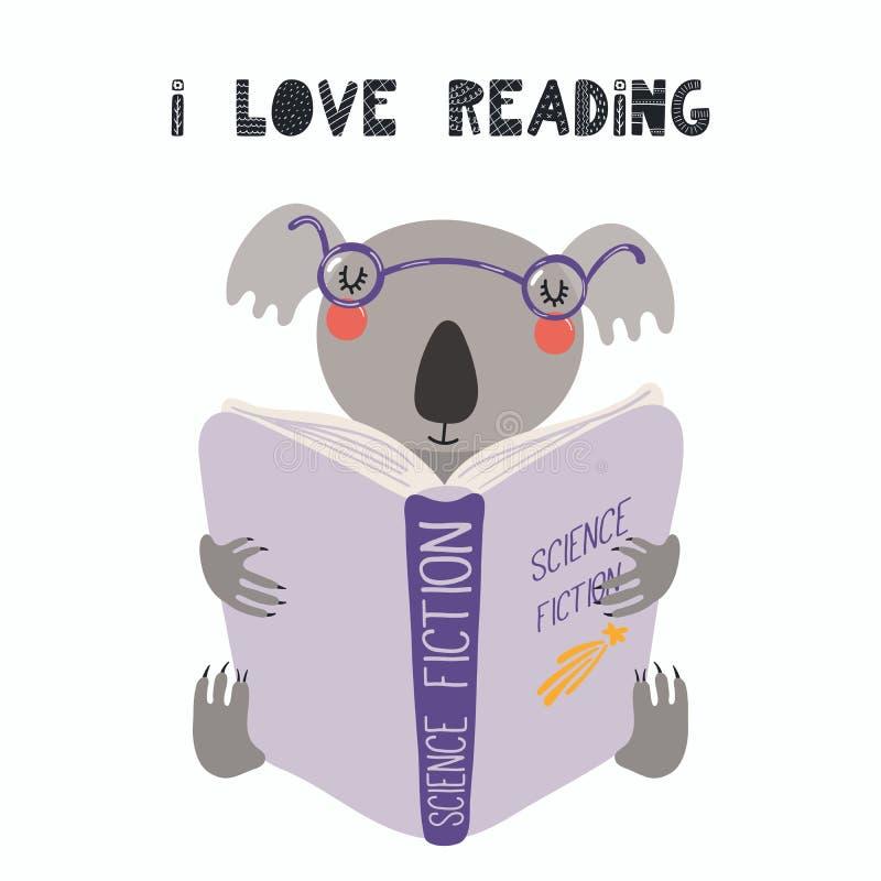Cute koala reading a book stock illustration