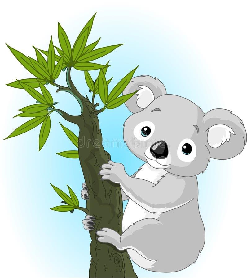Cute koala on a tree stock illustration