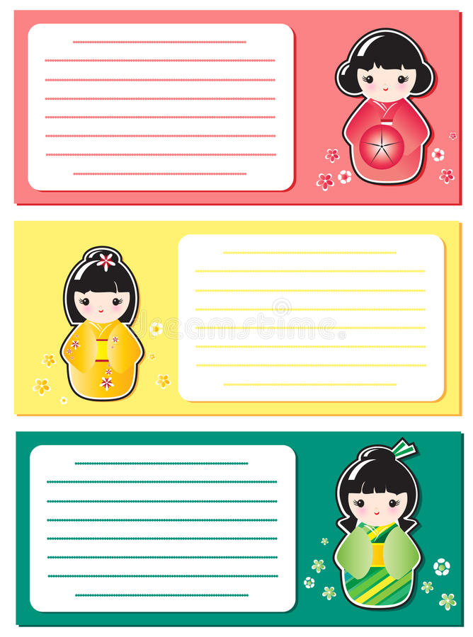 Download Cute Kokeshi notes stock illustration. Illustration of isolated - 20698142