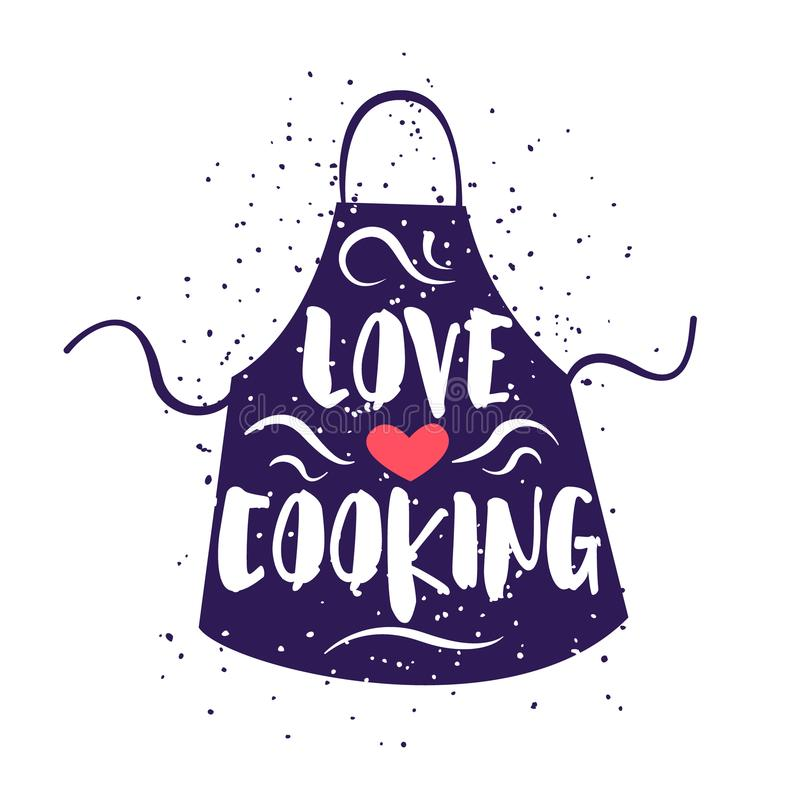 Cute label with apron and lettering text Love Cooking on white background. Vector illustration for greeting cards, decoration, pri royalty free illustration