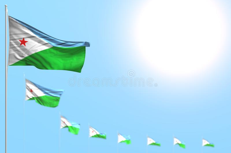 Cute labor day flag 3d illustration - many Djibouti flags placed diagonal with selective focus and free space for content. Beautiful many Djibouti flags placed stock illustration
