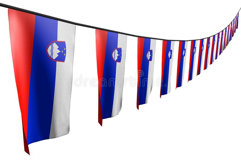 Cute labor day flag 3d illustration - many Slovenia flags or banners hangs diagonal with perspective view on string isolated on. Cute many Slovenia flags or royalty free illustration