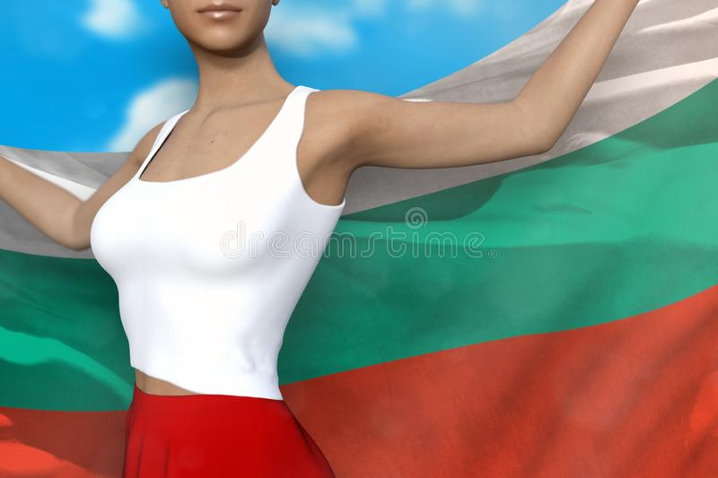 Beautiful woman in bright skirt holds Bulgaria flag in hands behind her back on the cloudy sky background - flag concept 3d. Cute lady in bright skirt is holding stock illustration