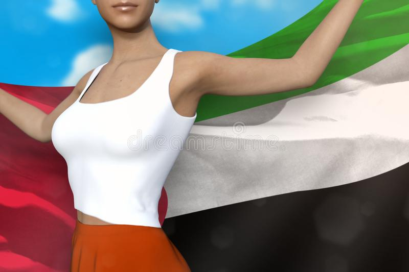 Cute lady in bright skirt holds United Arab Emirates flag in hands behind her back on the cloudy sky background - flag concept 3d. Pretty lady in bright skirt is royalty free illustration