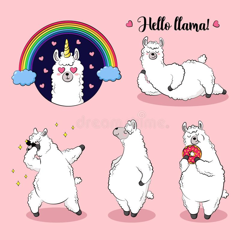 Free Cute Lama, Doodle Vector Illustration. Collection Of Cartoon Characters, Stickers, Patches Stock Photography - 118724672