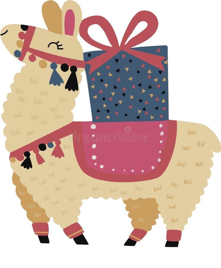 Cute lama and giftbox. Alpaca animal. Vector illustration royalty free stock images