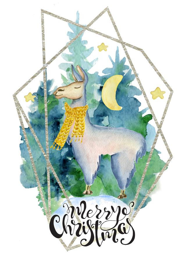 Cute lama in green scarf watercolor hand drawn merry christmas illustration stock illustration