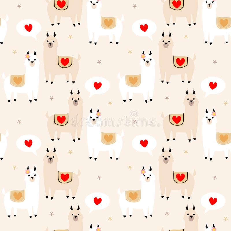Cute lama lover seamless pattern vector illustration