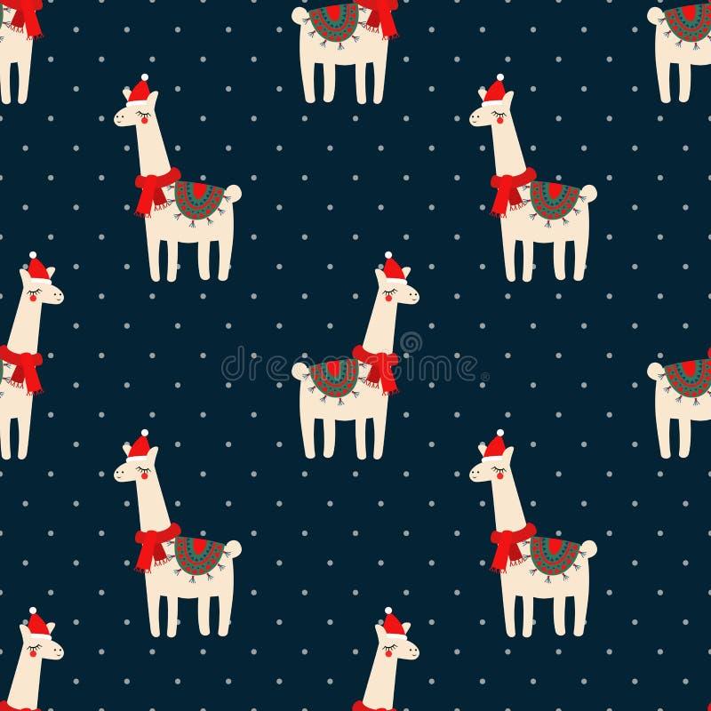 Cute lama with xmas hat seamless pattern on dark blue polka dots background. stock illustration