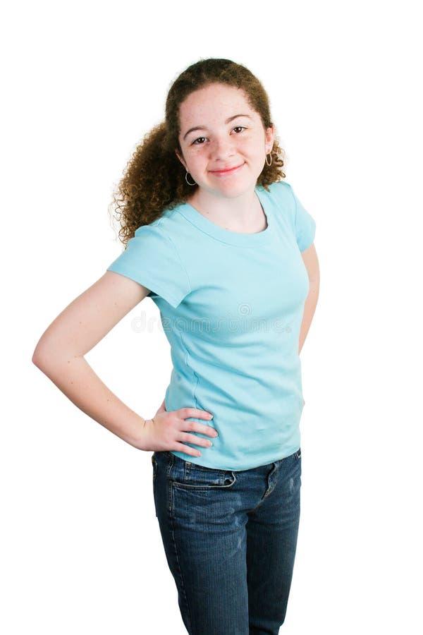 Cute Latina Girl in Blank Blue T-shirt stock photo