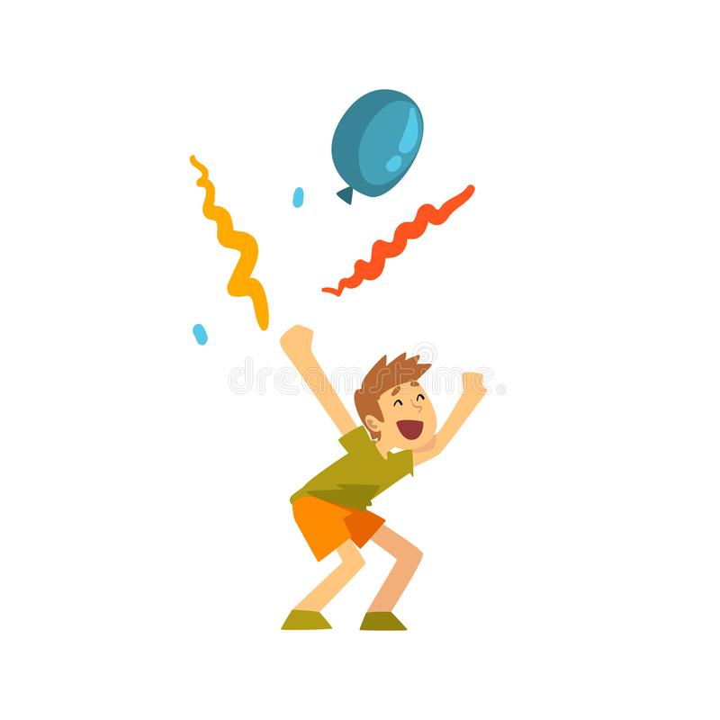 Cute Laughing Boy at Kids Party, Happy Child Having Fun at Birthday, Carnival Party or Circus Performance Vector stock illustration