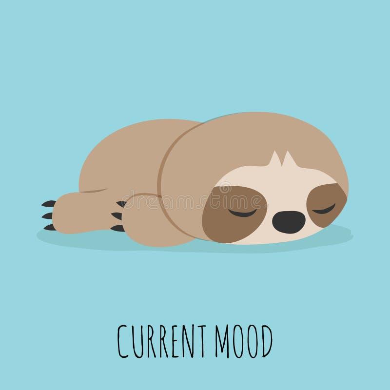 Cute lazy sloth stock illustration