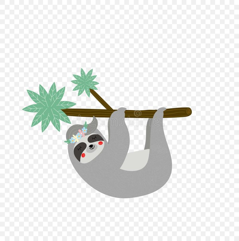 Cute lazy sloth hanging on tree branch isolated. On transparent background. Kids t-shirt design print. Portrait of sleepy sloth in flower wreath Cartoon flat stock illustration